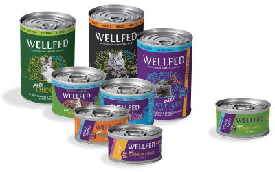 Pet interest wellfed product packages photo